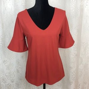 Ann Taylor flutter sleeve blouse size M